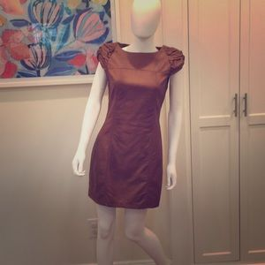 Vegan leather cognac mini dress